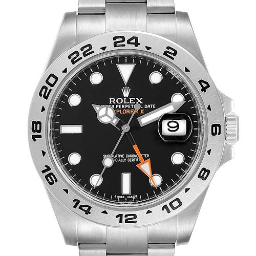 Photo of Rolex Explorer II 42 Black Dial Orange Hand Steel Mens Watch 216570 Box
