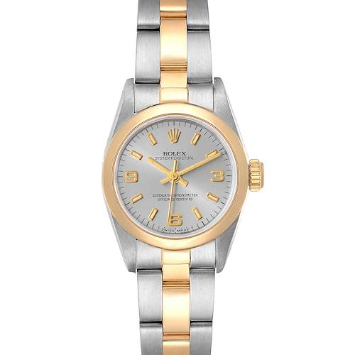 Photo of Rolex Oyster Perpetual Slate Dial Steel Yellow Gold Ladies Watch 76193 Box