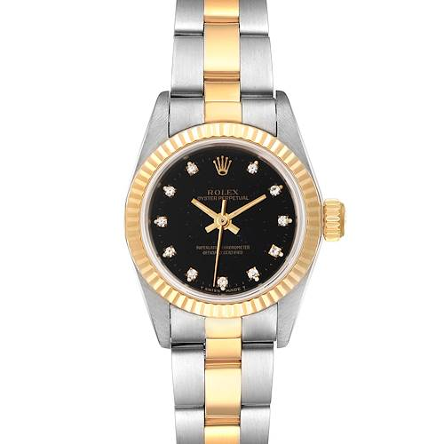 Photo of Rolex Oyster Perpetual Steel Yellow Gold Diamond Ladies Watch 67193 Box