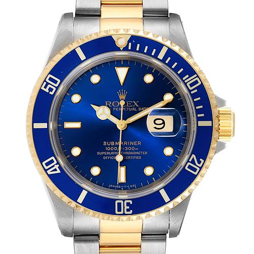 Photo of Rolex Submariner Purple Blue Dial Steel Yellow Gold Mens Watch 16613 Box