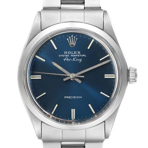 Photo of Rolex Air King Vintage Stainless Steel Blue Dial Mens Watch 5500