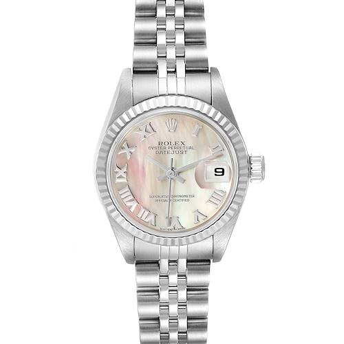 Photo of Rolex Datejust Steel White Gold Mother of Pearl Ladies Watch 79174 Box