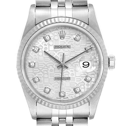 Photo of Rolex Datejust Steel White Gold Silver Diamond Dial Mens Watch 16234