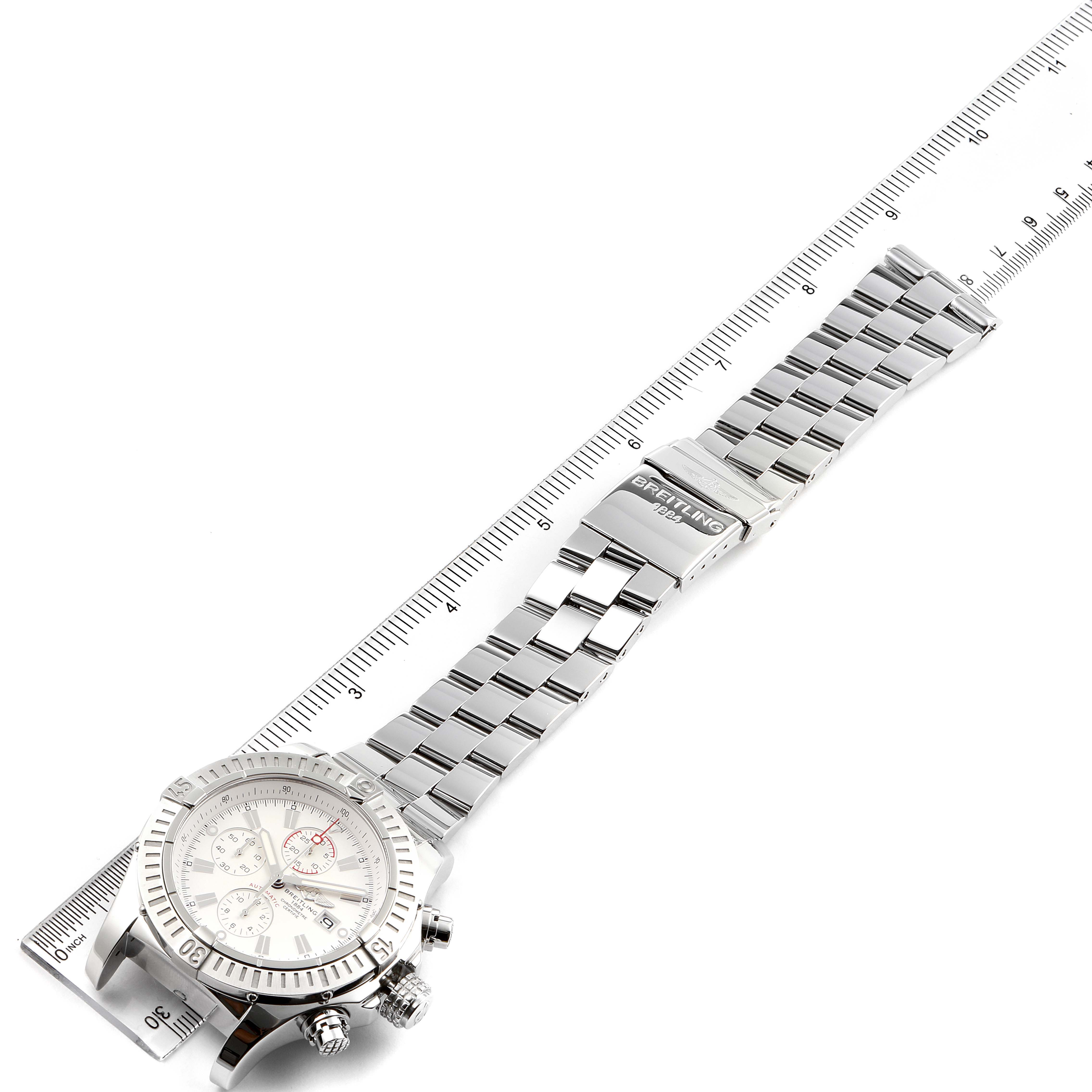 Breitling Super Avenger White Dial Chronograph Steel Mens Watch A13370 Box Card SwissWatchExpo