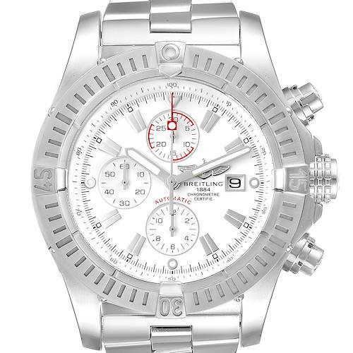 Photo of Breitling Super Avenger White Dial Chronograph Steel Mens Watch A13370 Box Card