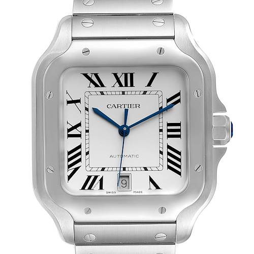 Photo of Cartier Santos Silver Dial Large Steel Mens Watch WSSA0018 Unworn