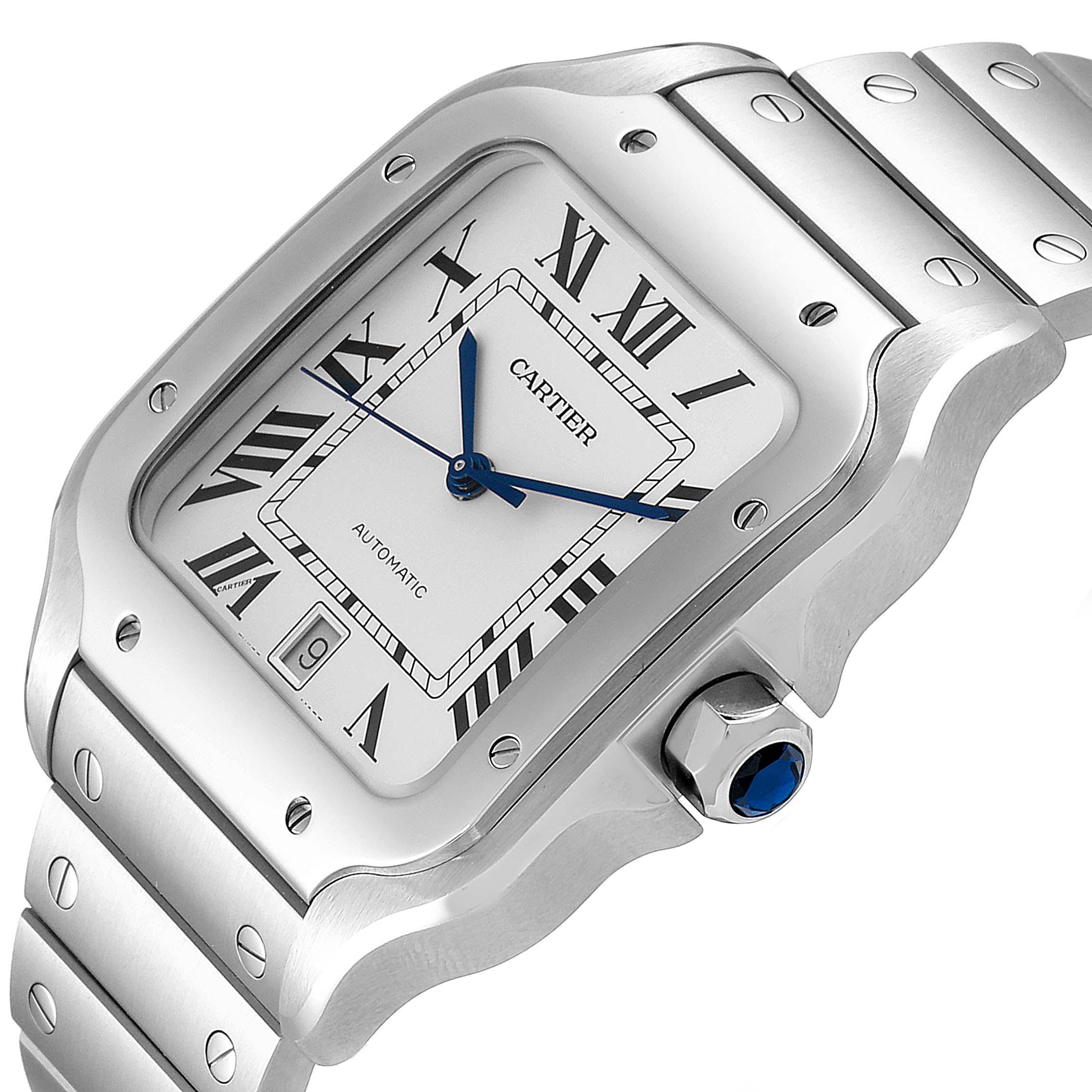 Cartier Santos Silver Dial Large Steel Mens Watch WSSA0018 Unworn SwissWatchExpo