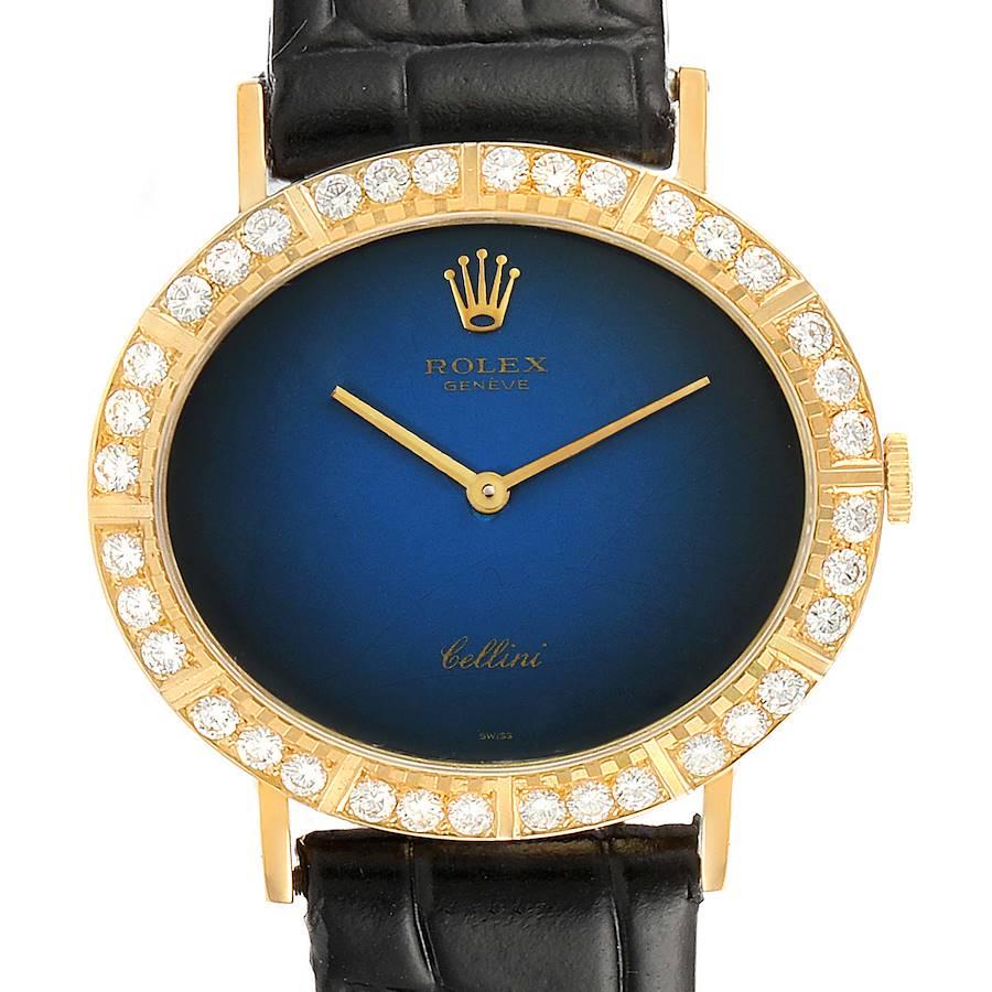 Rolex Cellini Blue Vignette Dial Yellow Gold Diamond Ladies Watch 4083 SwissWatchExpo