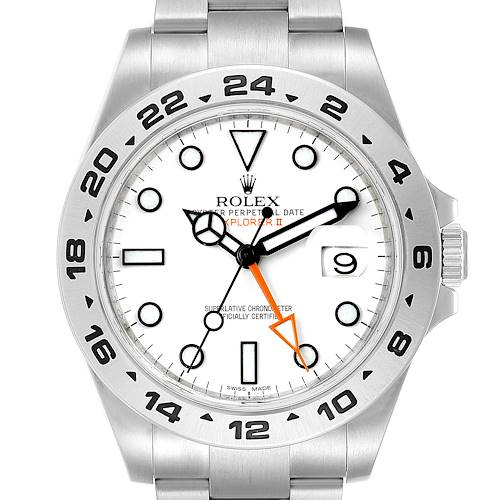 Photo of Rolex Explorer II 42 White Dial Orange Hand Steel Mens Watch 216570 Box Papers