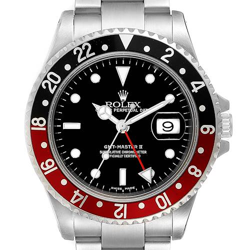 Photo of Rolex GMT Master II Black Red Coke Bezel Mens Watch 16710 Box