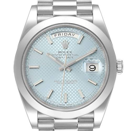 Photo of Rolex President Day-Date 40 Blue Dial Platinum Mens Watch 228206 Box Card