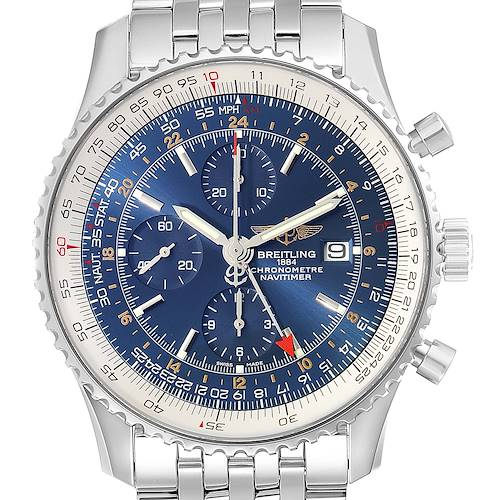 Photo of Breitling Navitimer World Blue Dial Steel Mens Watch A24322 Box Papers