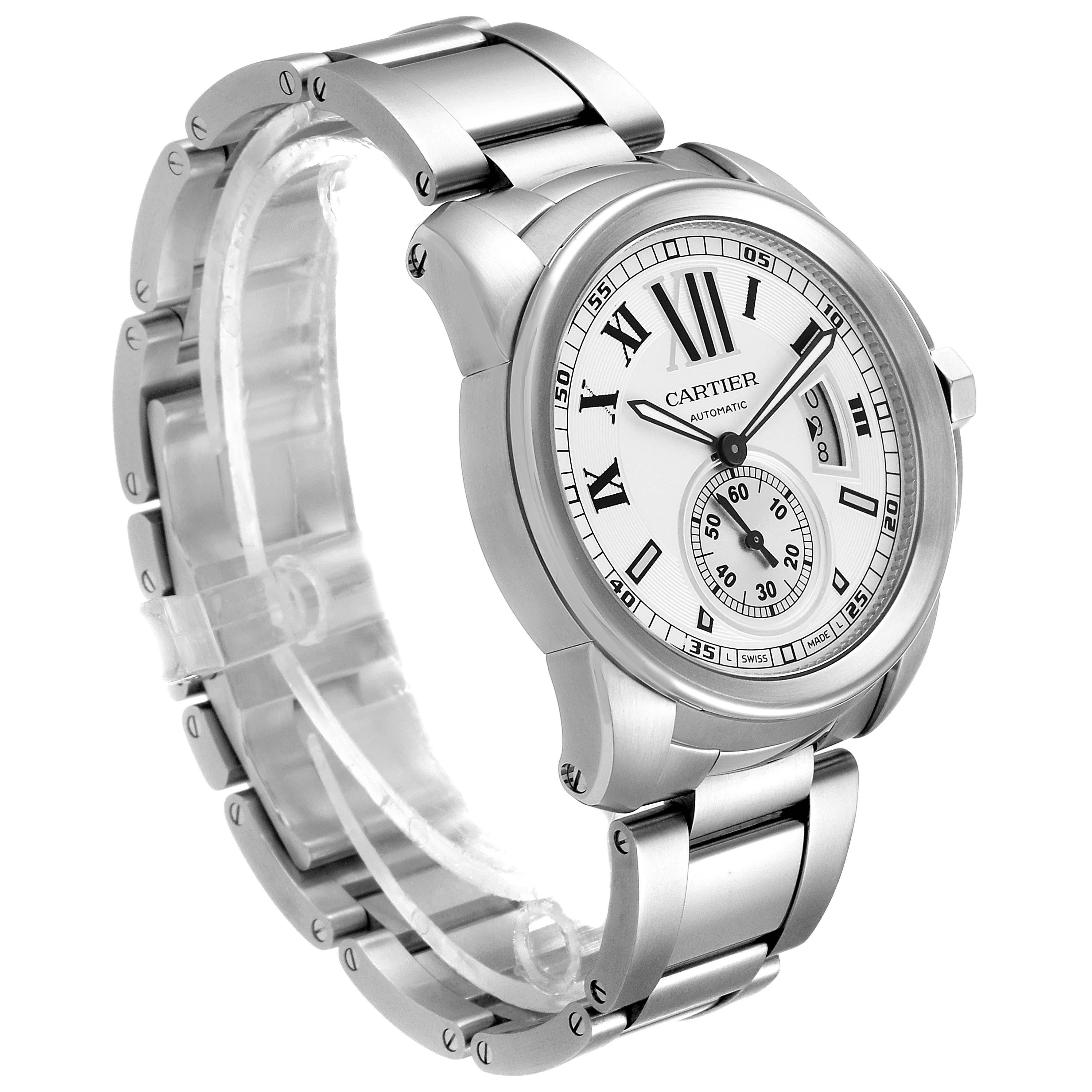 Calibre De Cartier Silver Dial Steel Automatic Mens Watch W7100015 Box SwissWatchExpo