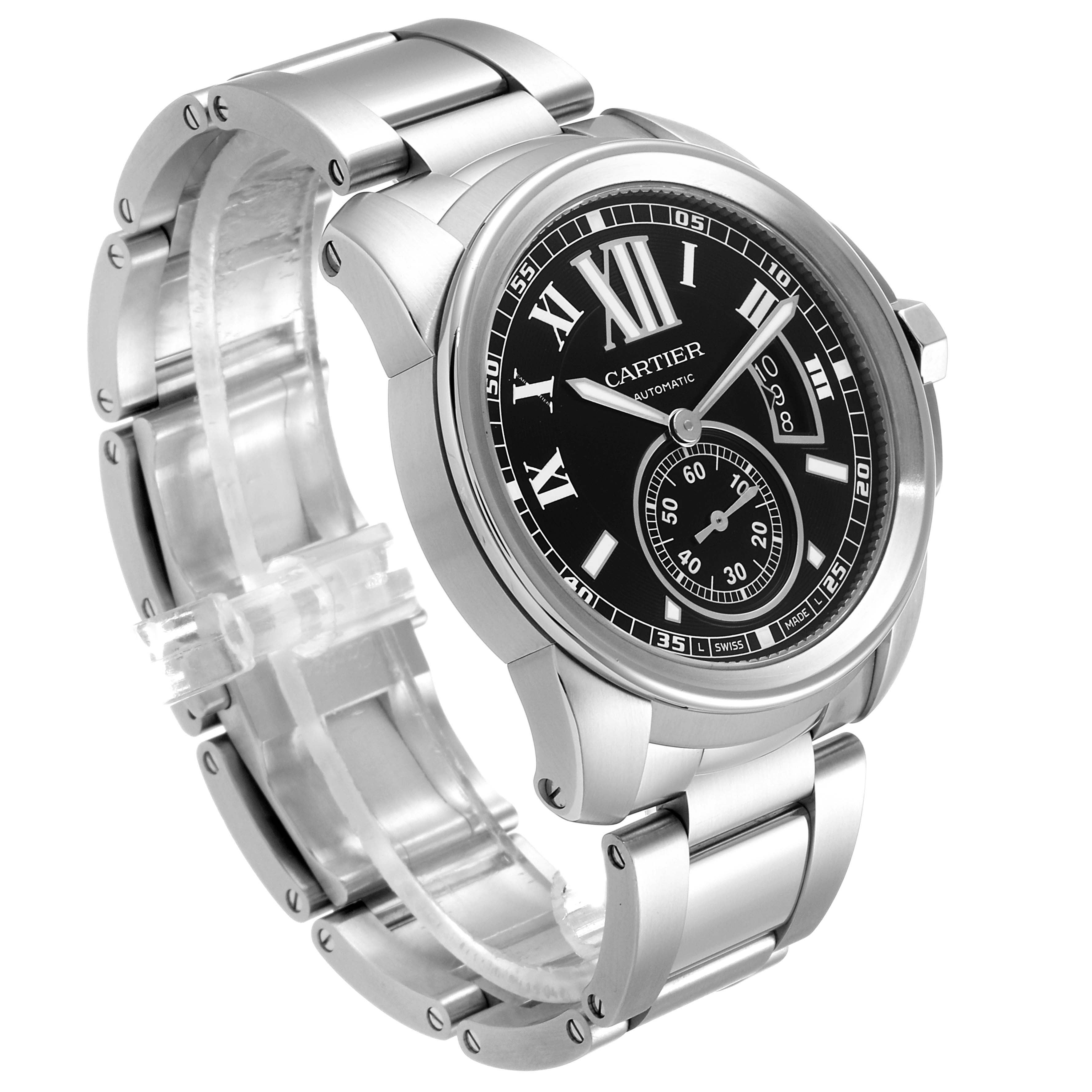 Calibre De Cartier Stainless Steel Black Dial Mens Watch W7100016 Box Papers SwissWatchExpo