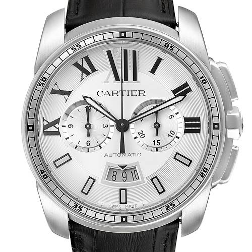 Photo of Calibre De Cartier Steel Chronograph Silver Dial Mens Watch W7100046 Box