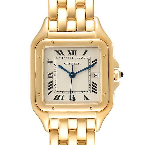 Cartier Panthere XL Blue Sapphire Yellow Gold Unisex Watch W25014B9 Box