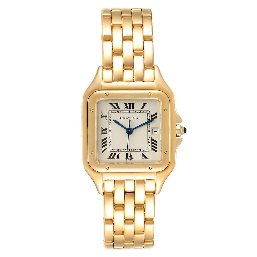 Cartier Panthere XL Blue Sapphire Yellow Gold Unisex Watch W25014B9 Box SwissWatchExpo