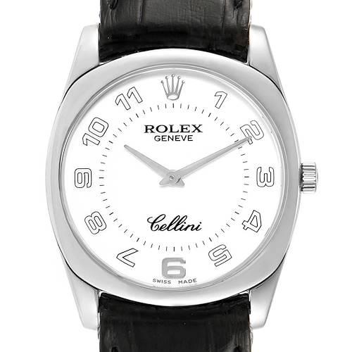 Photo of Rolex Cellini Danaos 18K White Gold Black Strap Mens Watch 4233