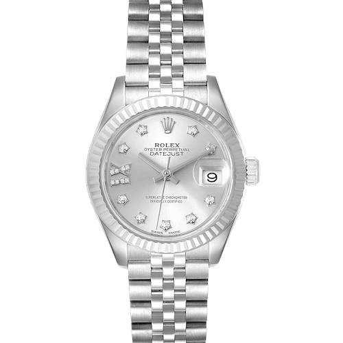 Photo of Rolex Datejust 28 Steel White Gold Diamond Dial Ladies Watch 279174 Box Papers