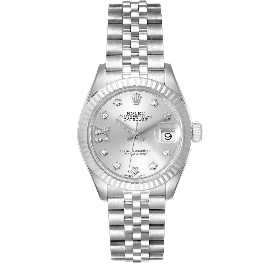 Rolex Datejust 28 Steel White Gold Diamond Dial Ladies Watch 279174 Box Papers SwissWatchExpo