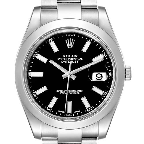 Photo of Rolex Datejust II 41mm Black Dial Oyster Bracelet Steel Mens Watch 116300 Box Papers