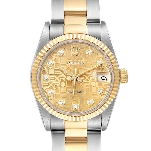 Photo of Rolex Datejust Midsize 31 Steel Yellow Gold Diamond Ladies Watch 68273 Box