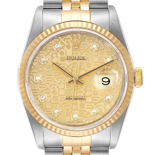 Photo of Rolex Datejust Steel 18K Yellow Gold Diamond Dial Mens Watch 16233 Papers