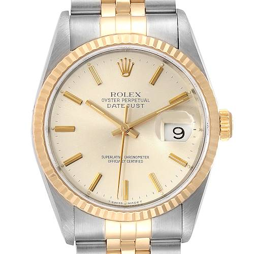 Photo of Rolex Datejust Steel Yellow Gold Silver Dial Mens Watch 16233