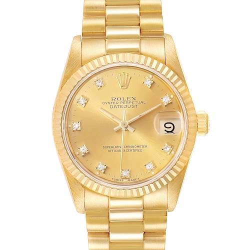 Photo of Rolex President Datejust 31 Midsize 18K Gold Diamond Watch 68278
