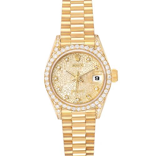 Photo of Rolex President Yellow Gold Anniversary Dial Diamond Ladies Watch 69158 Box Papers