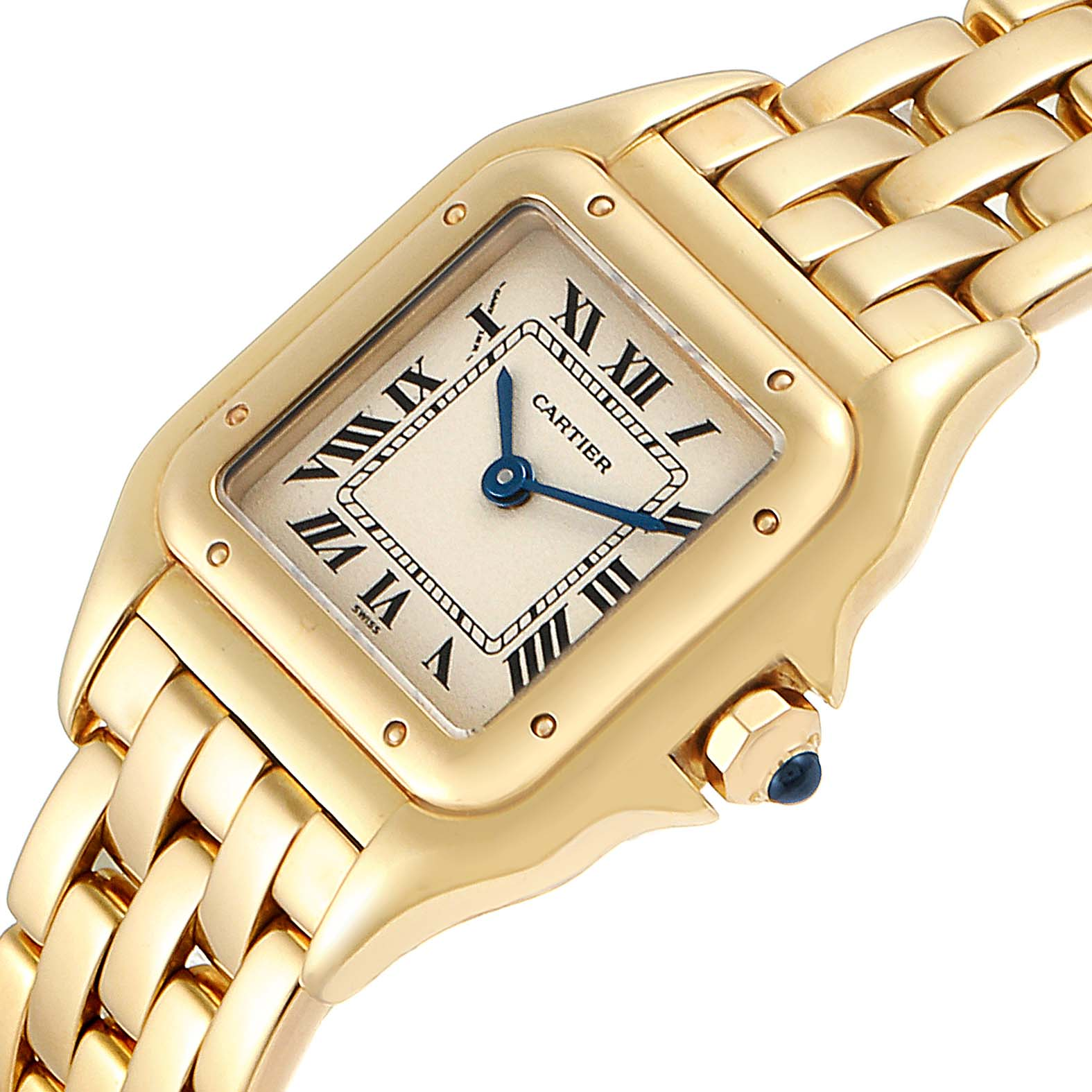 Cartier Panthere Small Yellow Gold Silver Dial Ladies Watch W25022B9 SwissWatchExpo