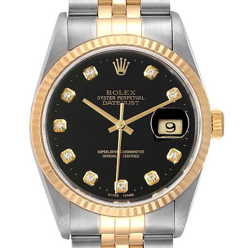 Photo of Rolex Datejust Steel Yellow Gold Black Diamond Dial Mens Watch 16233