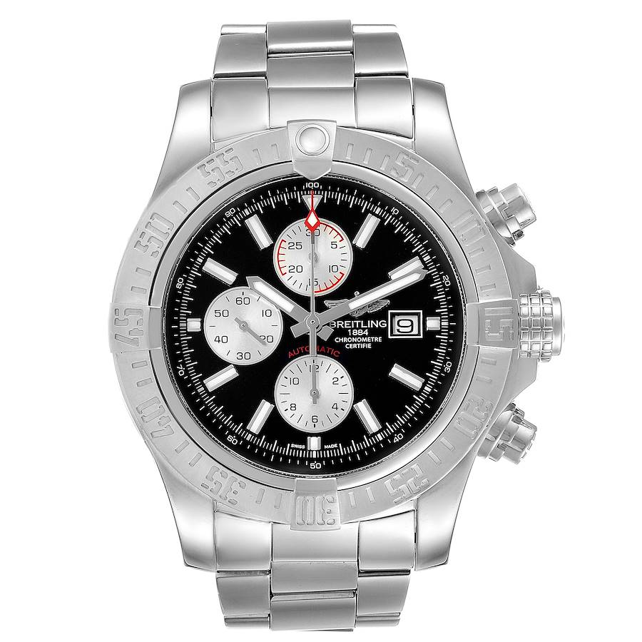 Breitling Aeromarine Super Avenger Steel Mens Watch A13371 Box Card SwissWatchExpo