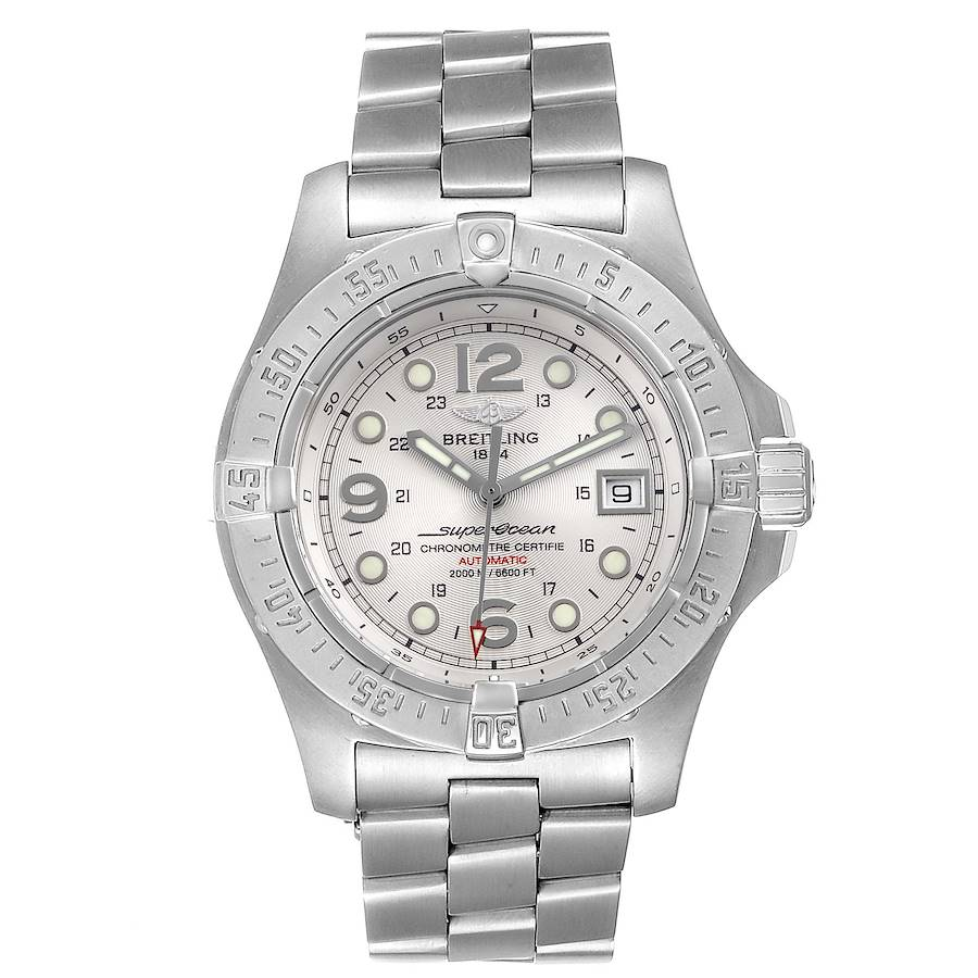 Breitling Aeromarine Superocean Steelfish Silver Dial Mens Watch A17390 Box Papers SwissWatchExpo