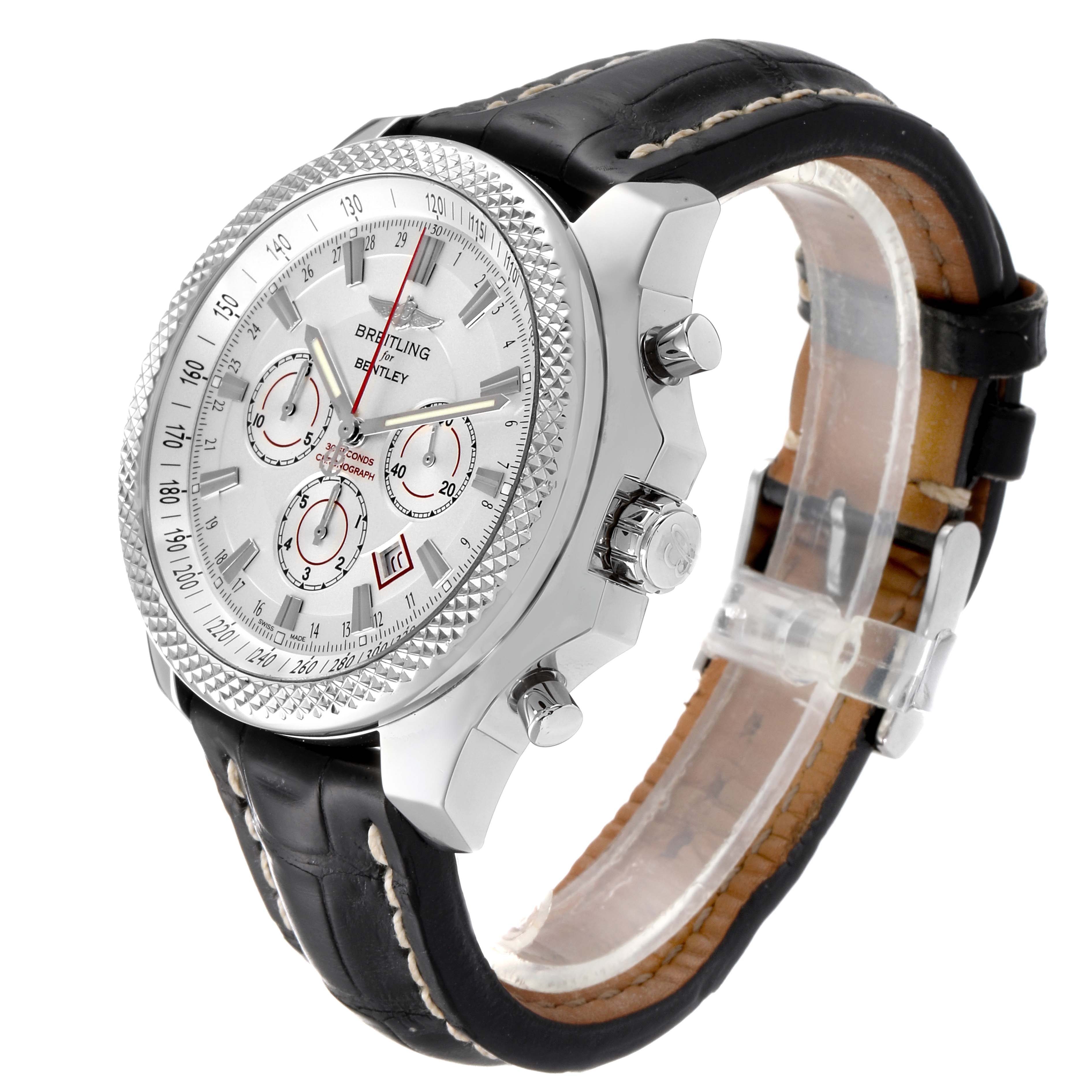 Breitling Bentley Barnato 49mm White Red Dial Steel Mens Watch A25368 Box Papers SwissWatchExpo
