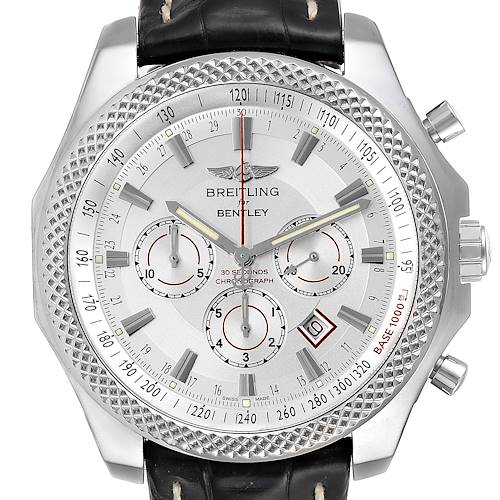 Photo of Breitling Bentley Barnato 49mm White Red Dial Steel Mens Watch A25368 Box Papers