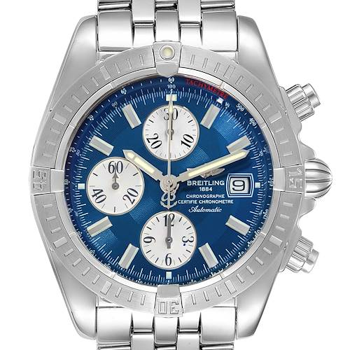 Photo of Breitling Chronomat Evolution Steel Blue Dial Steel Mens Watch A13356 Box