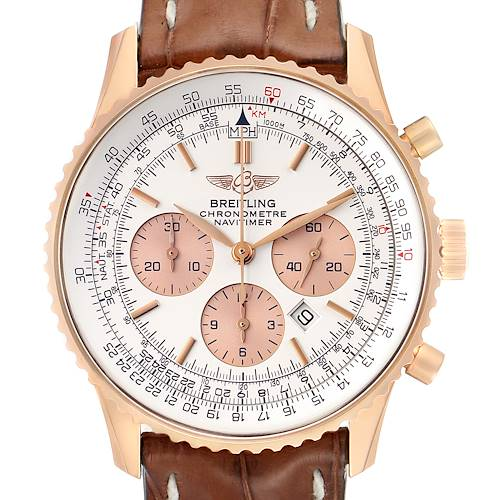 Photo of Breitling Navitimer Rose Gold Brown Strap Mens Watch R41380 Box