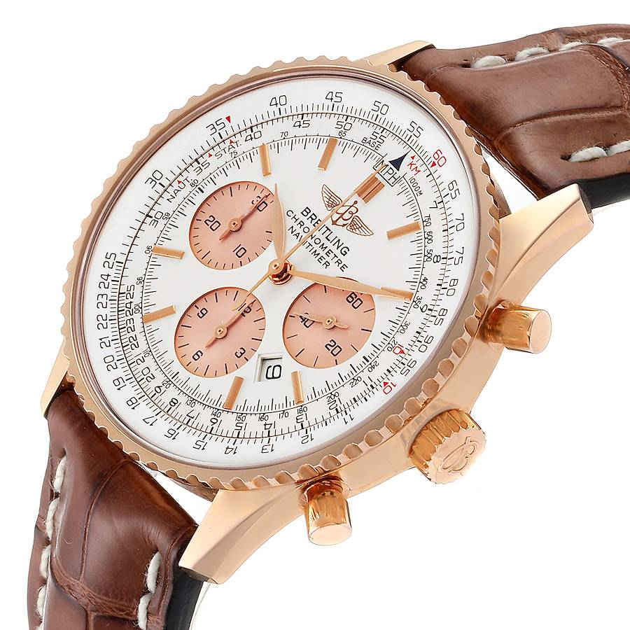 Breitling Navitimer Rose Gold Brown Strap Mens Watch R41380 Box SwissWatchExpo