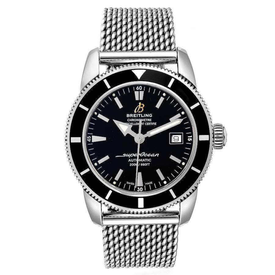Breitling Superocean Heritage 42 Mesh Bracelet Watch A17321 Box Papers SwissWatchExpo