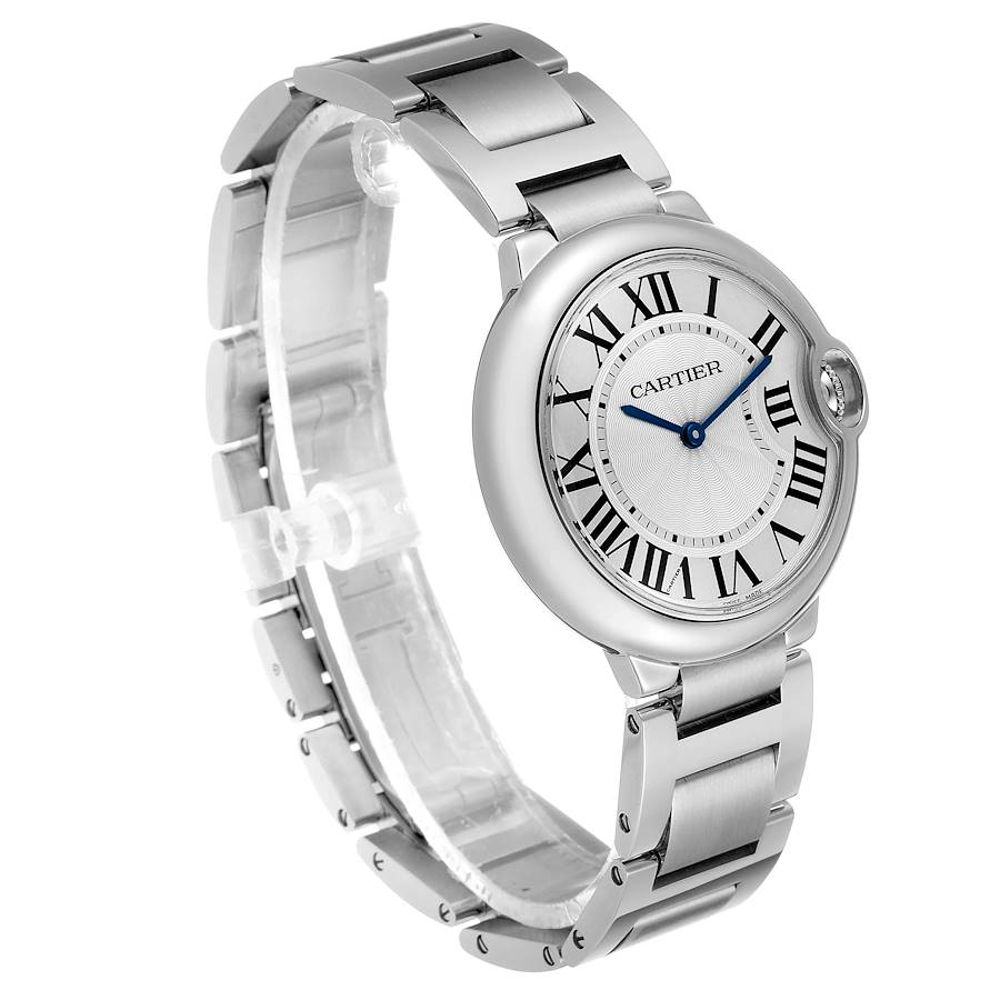Cartier Ballon Bleu 36 Midsize Silver Guilloche Dial Watch W69011Z4 Box SwissWatchExpo