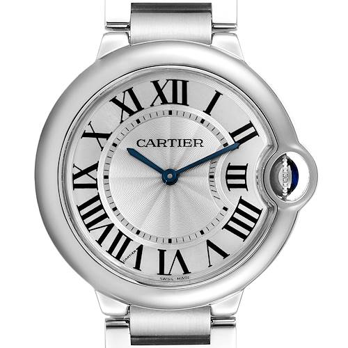 Cartier Ballon Bleu 36 Midsize Silver Guilloche Dial Watch W69011Z4 Box