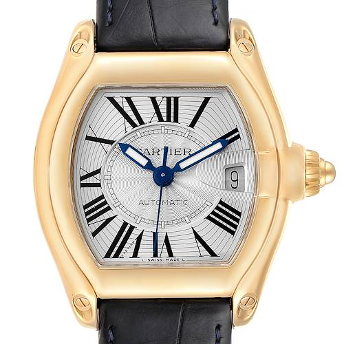 Photo of Cartier Roadster Yellow Gold Blue Strap Large Mens Watch W62005V2 Box