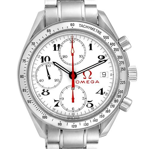 Photo of Omega Speedmaster White Dial Chronograph Mens Watch 3515.20.00 Box Card