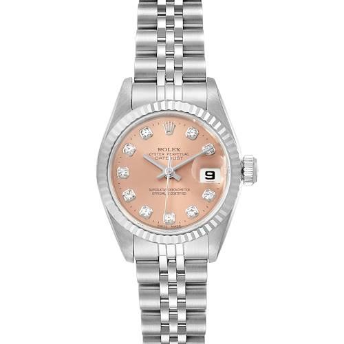 Photo of Rolex Datejust Ladies Steel White Gold Salmon Diamond Dial Watch 69174 Box