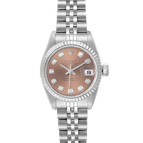 Rolex Datejust Ladies Steel White Gold Salmon Diamond Dial Watch 69174 Box