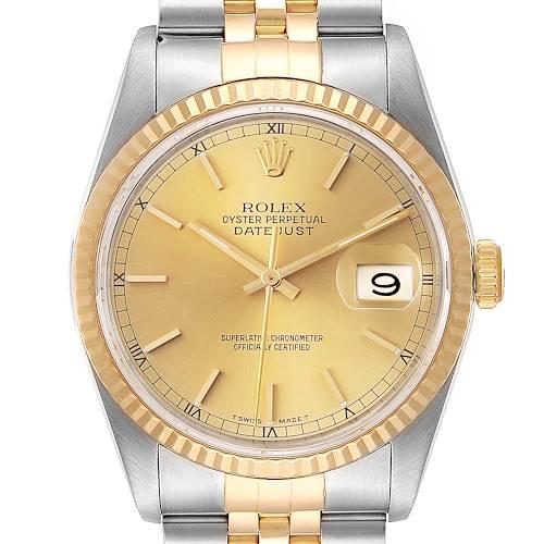 Photo of Rolex Datejust Steel 18K Yellow Gold Fluted Bezel Mens Watch 16233 Box