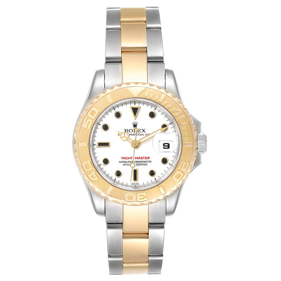 Rolex Yachtmaster 29 Steel Yellow Gold White Dial Ladies Watch 169623 Box Card SwissWatchExpo
