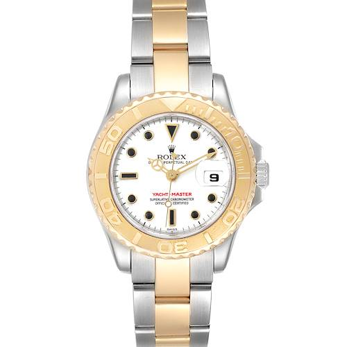 Photo of Rolex Yachtmaster 29 Steel Yellow Gold White Dial Ladies Watch 169623 Box Card