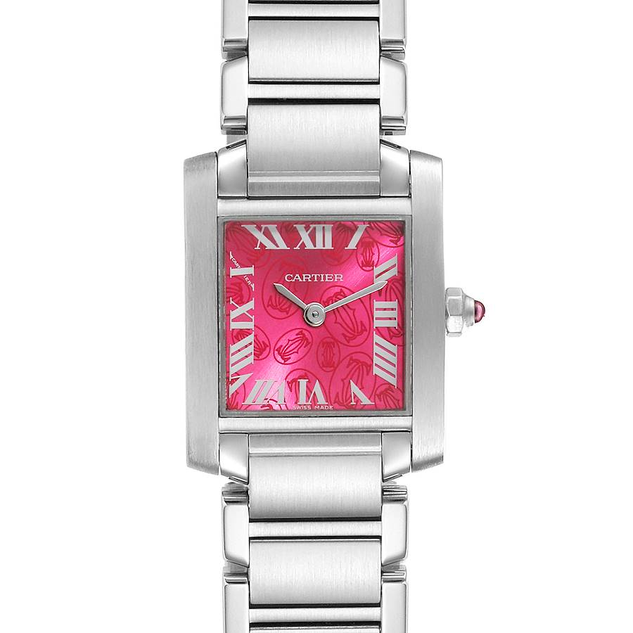 Cartier Tank Francaise Raspberry Dial Limited Edition Watch W51030Q3 SwissWatchExpo